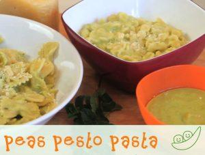 Pasta with Homemade Sweet Peas and Ham Pesto