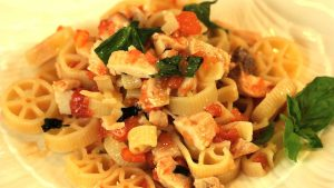 Pasta with swordfish and cherry tomatoes