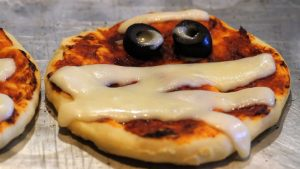 Baby pizzas mummies for Halloween