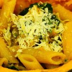 Pasta with squash and spinach