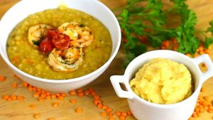 Red lentils soup with shrimp + baby red lentils with apples and rice puree' recipes (7 months)