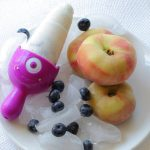 Blueberries peaches and yogurt popsicles!