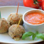 Baked Eggplant balls with fresh tomato sauce