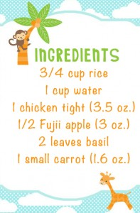 chicken apple rice puree ingred