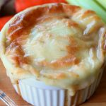 Turkey and vegetable pie with cheesy potato puree topping