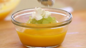 Pumpkin grapes cheese puree10