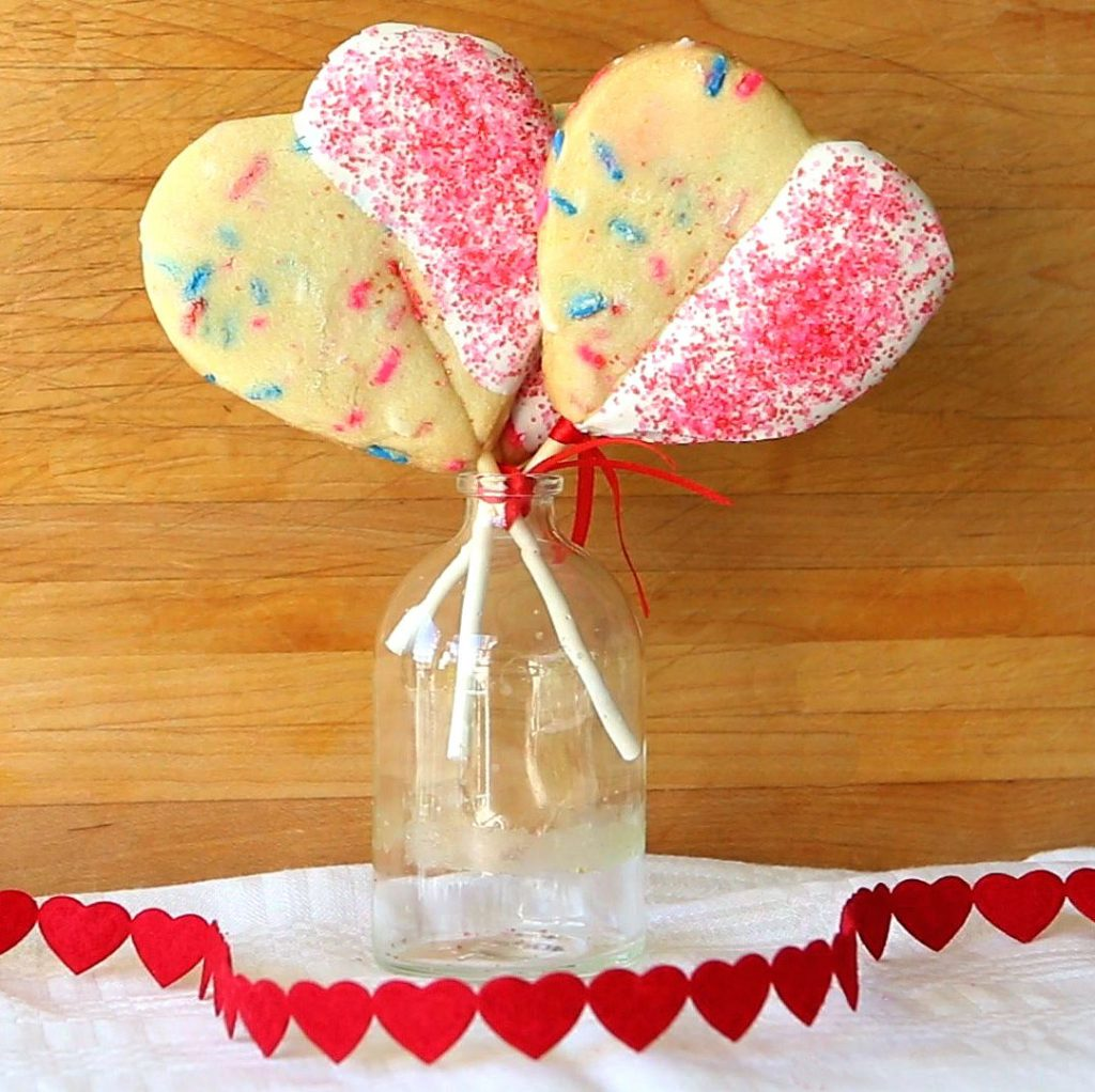 valentine shortbread cookie pops