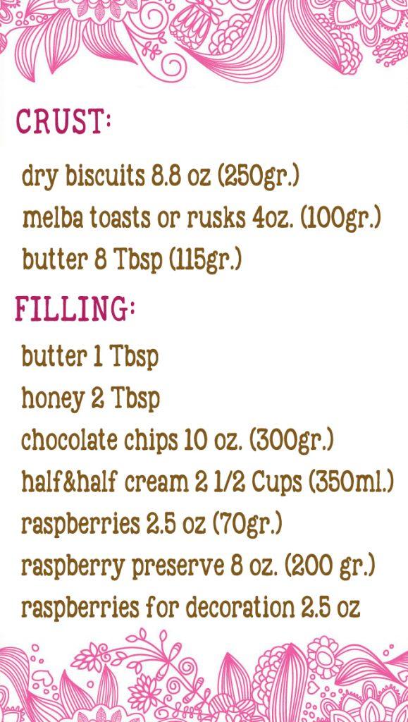 raspberry choco tart ingred