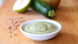 Buckwheat pear and zucchini baby puree