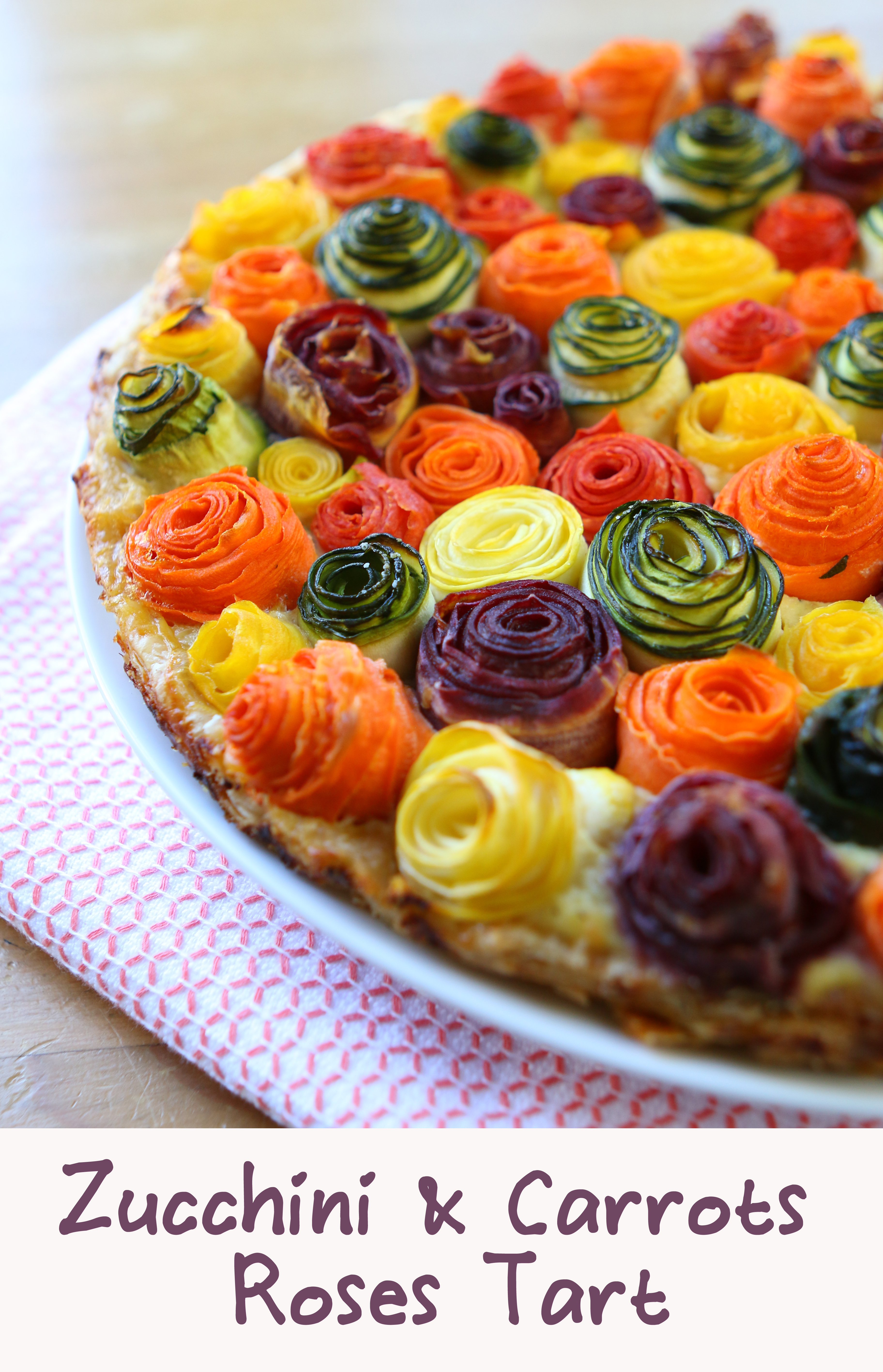 Surprise your family with this stunning beautiful rose tart! Veggies and cheesy base. It's not only beautiful but super yummy!