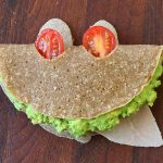 Gluten free buckwheat crepes with mozzarella, avocado, ham & tomatoes