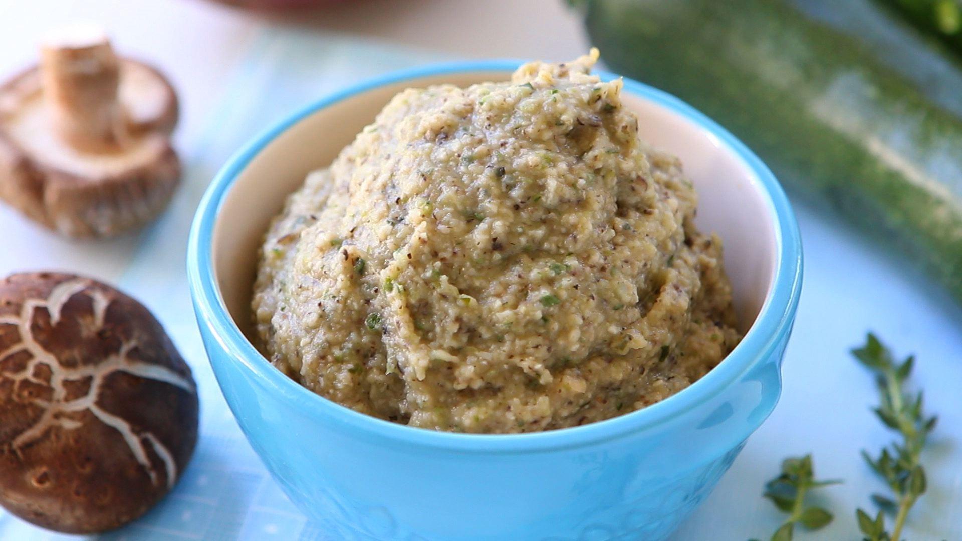 Mushroom zucchini and sweet potato baby puree'