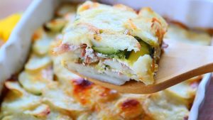 Scalloped Potatoes with zucchini and Speck ham