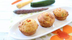Zucchini Carrots & Ham mini muffins