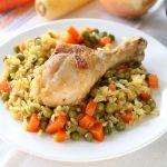 Pollo con riso e verdure