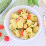 Pasta con pomodorini e crema di ceci e zucchine