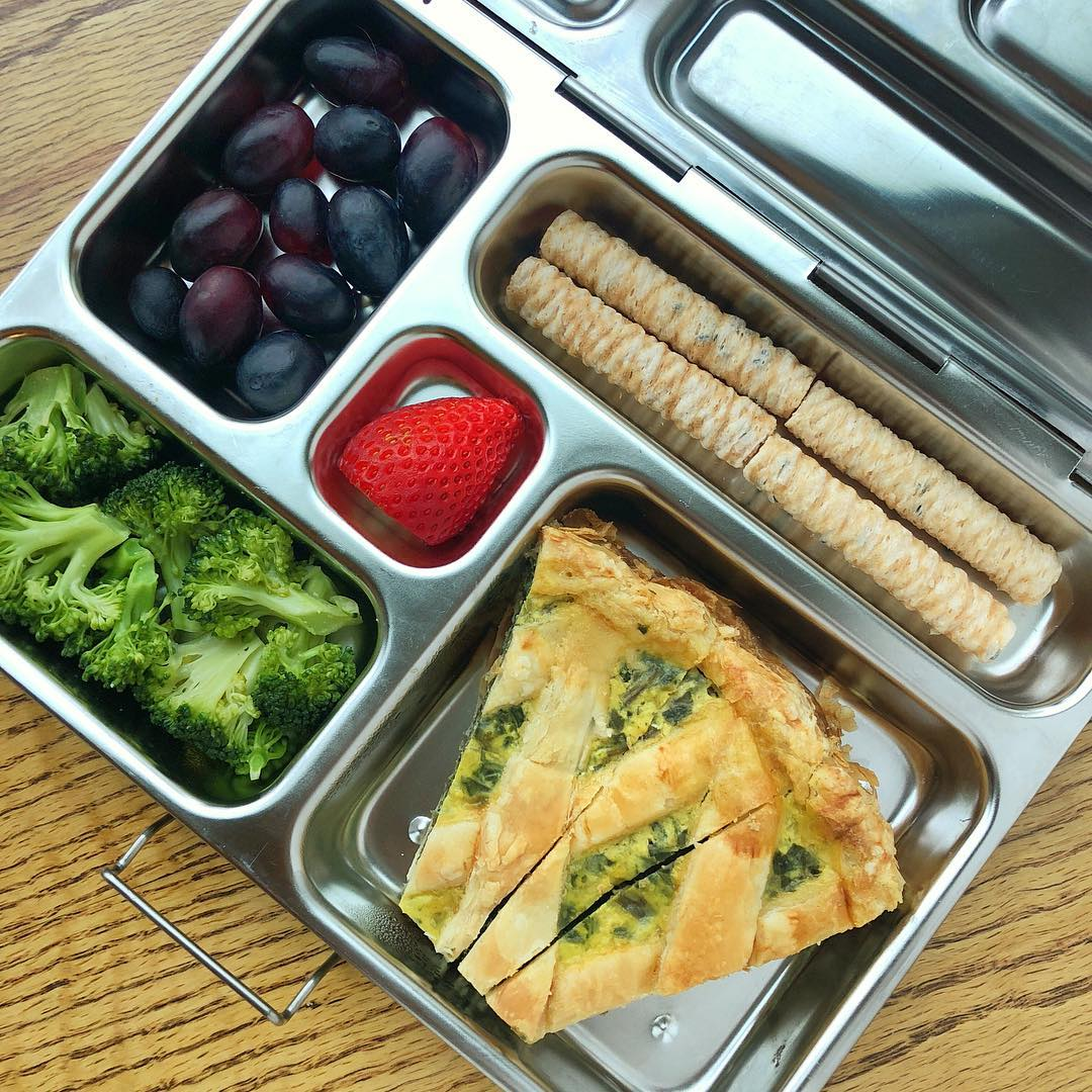 SwissChard and ricotta quiche (see previous post for recipe) + broccoli salad + grapes + strawberry + coconut sticks @costco