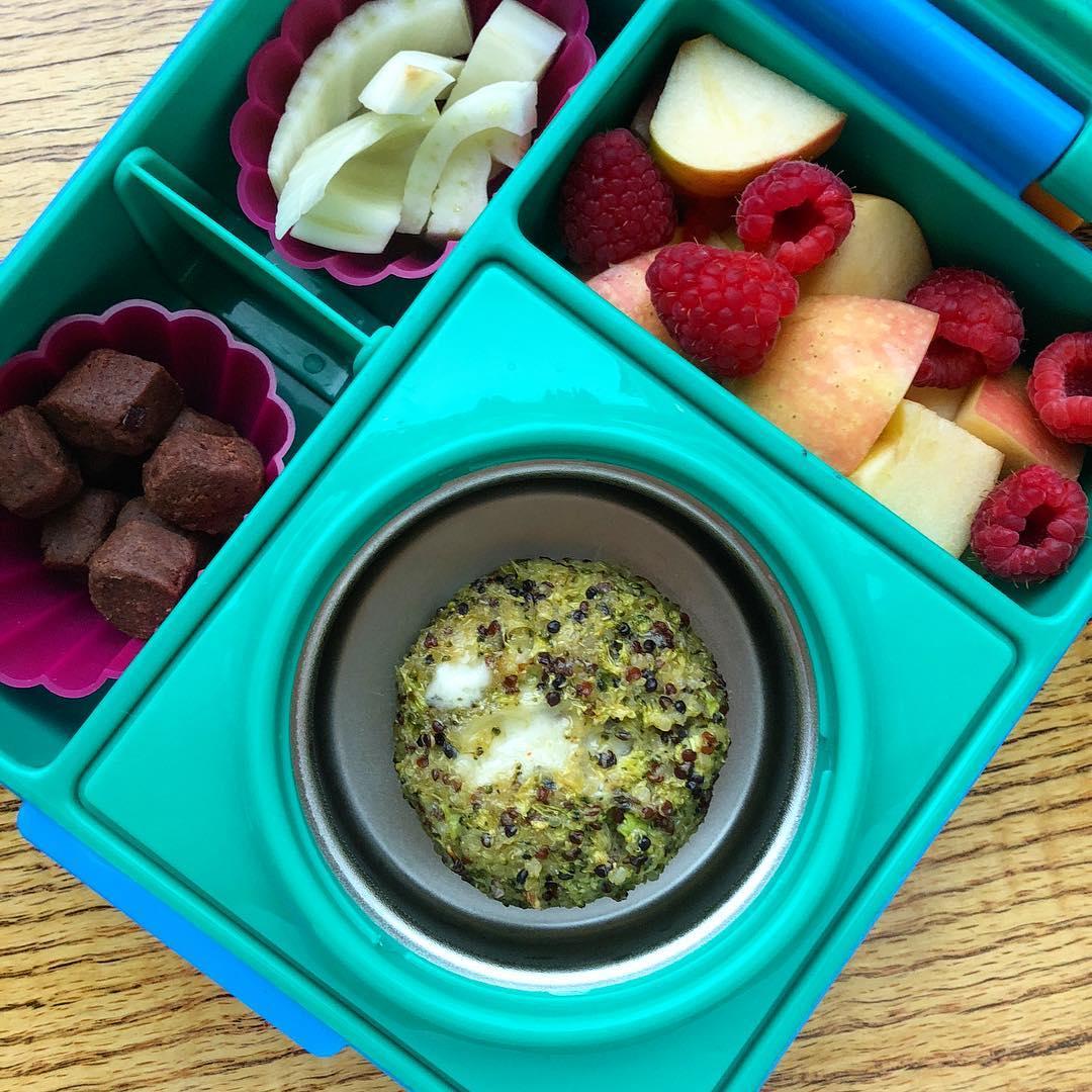 Broccoli Quinoa Muffins (recipe in my stories!) + orange dates energy balls @traderjoes + apple and raspberries + fennel