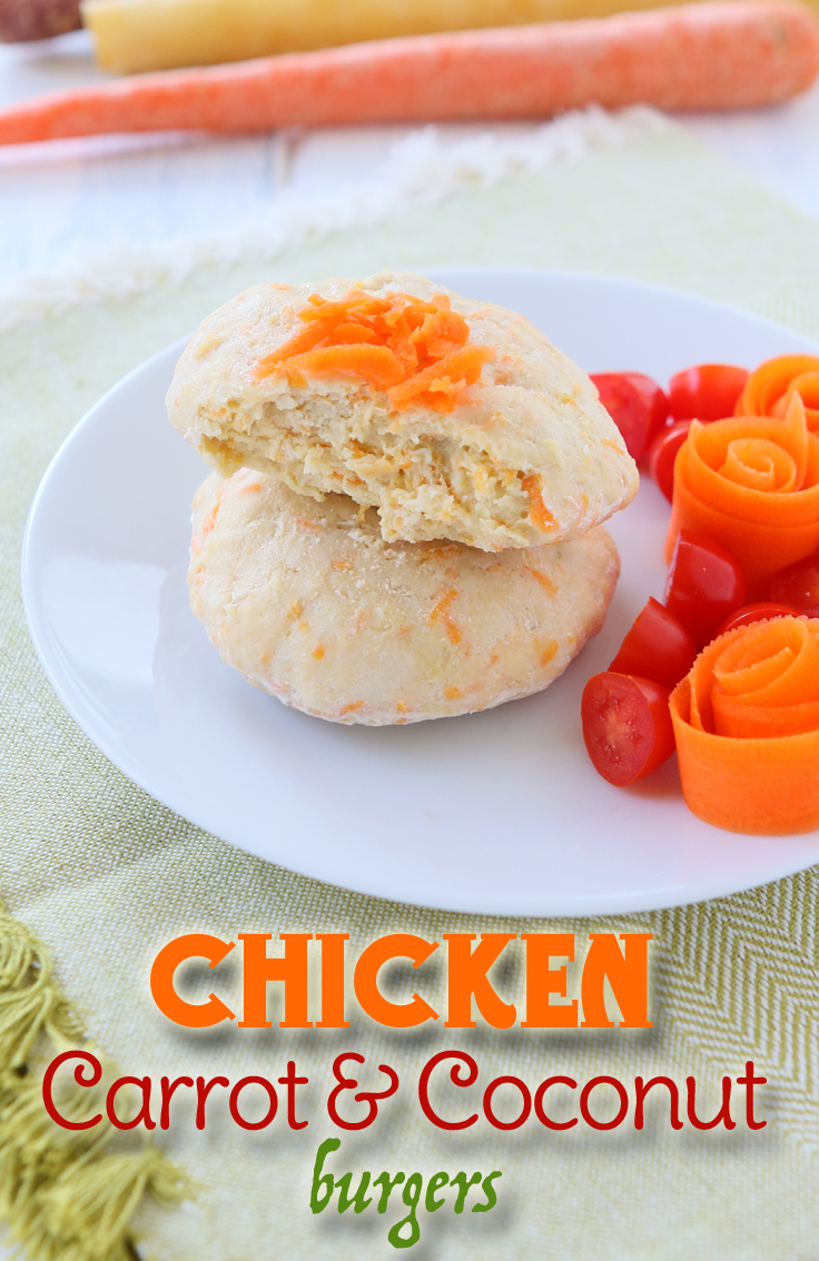 Take a break from beef with this tender carrot coconut chicken burgers. Toddler approved!
