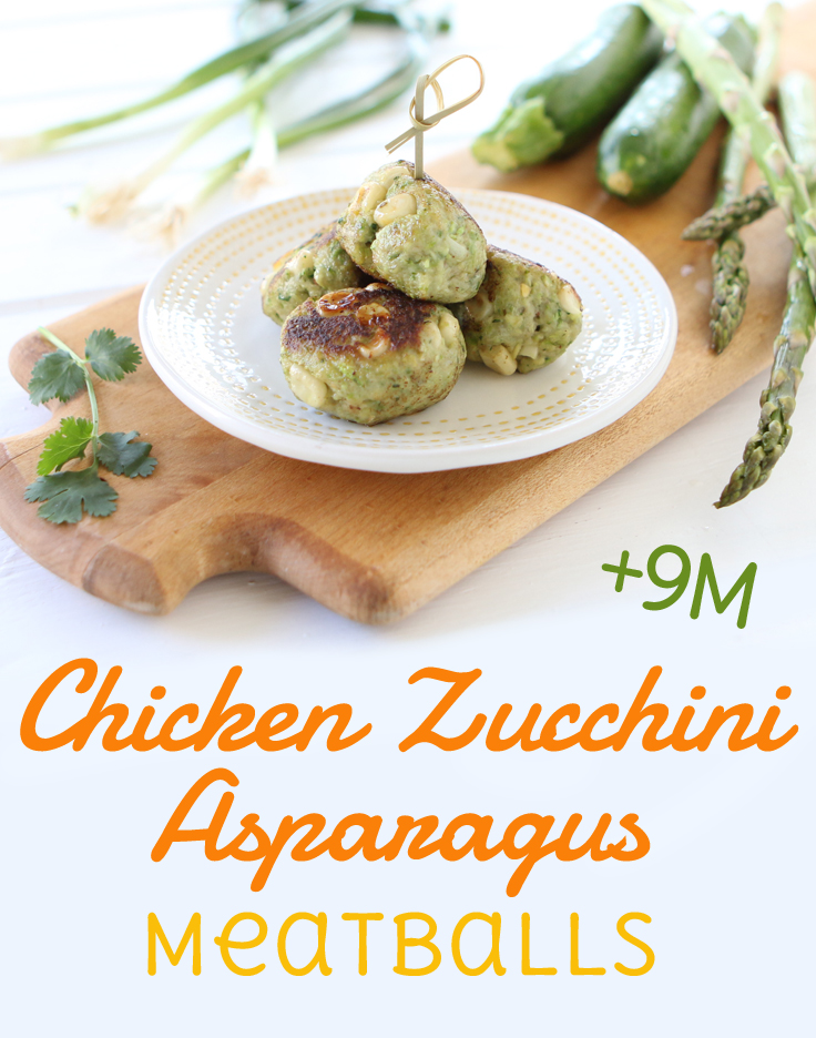 Chicken meatballs with asparagus and zucchini. Incredibly moist and tasty, these meatballs are a lovely way to sneak in some veggies. A nice toddler and baby led weaning idea 😉