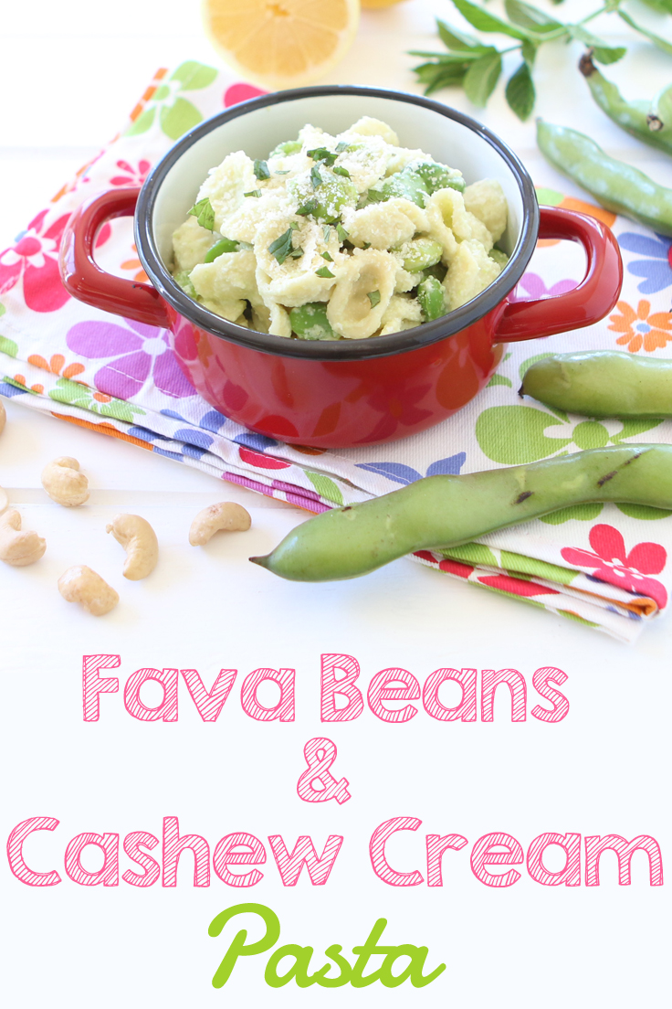 Fava beans and cashew cream pasta, an Italian spring recipe that your kids will love.