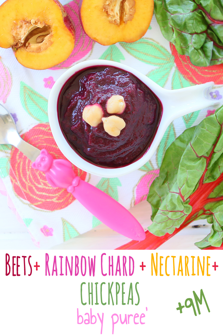 Beet + Rainbow Chard + Chickpeas + Nectarine baby puree.+9 months. A complete meal for your little one with an amazing deep purple color!!  I would suggest not to use your favorite white bib when serving this puree'
