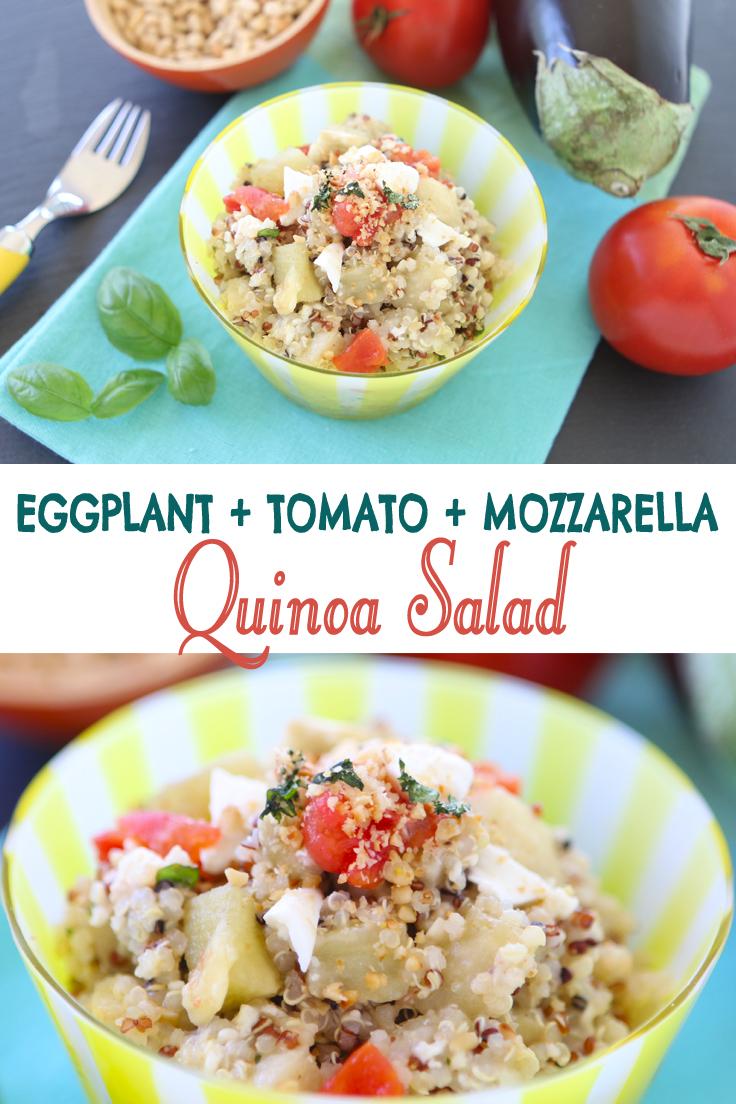 Quinoa Eggplant Tomato Mozzarella salad. A summer idea for kids and adults. Winning ingredients: the mozzarella and the eggplants.