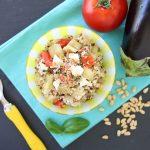 Quinoa Eggplant Tomato Mozzarella Salad +12M recipe