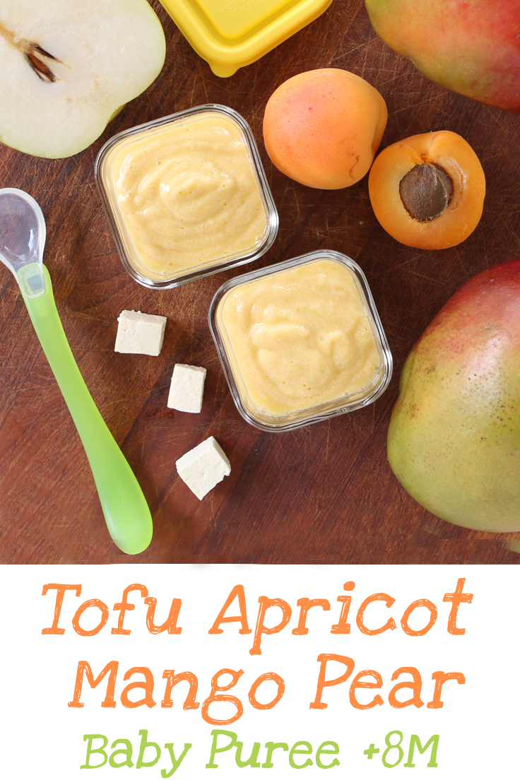 Tofu Apricot Mango Pear Puree. You can offer tofu to your baby starting from 8 months. It is a soy product and it's not easy to digest for little little ones.