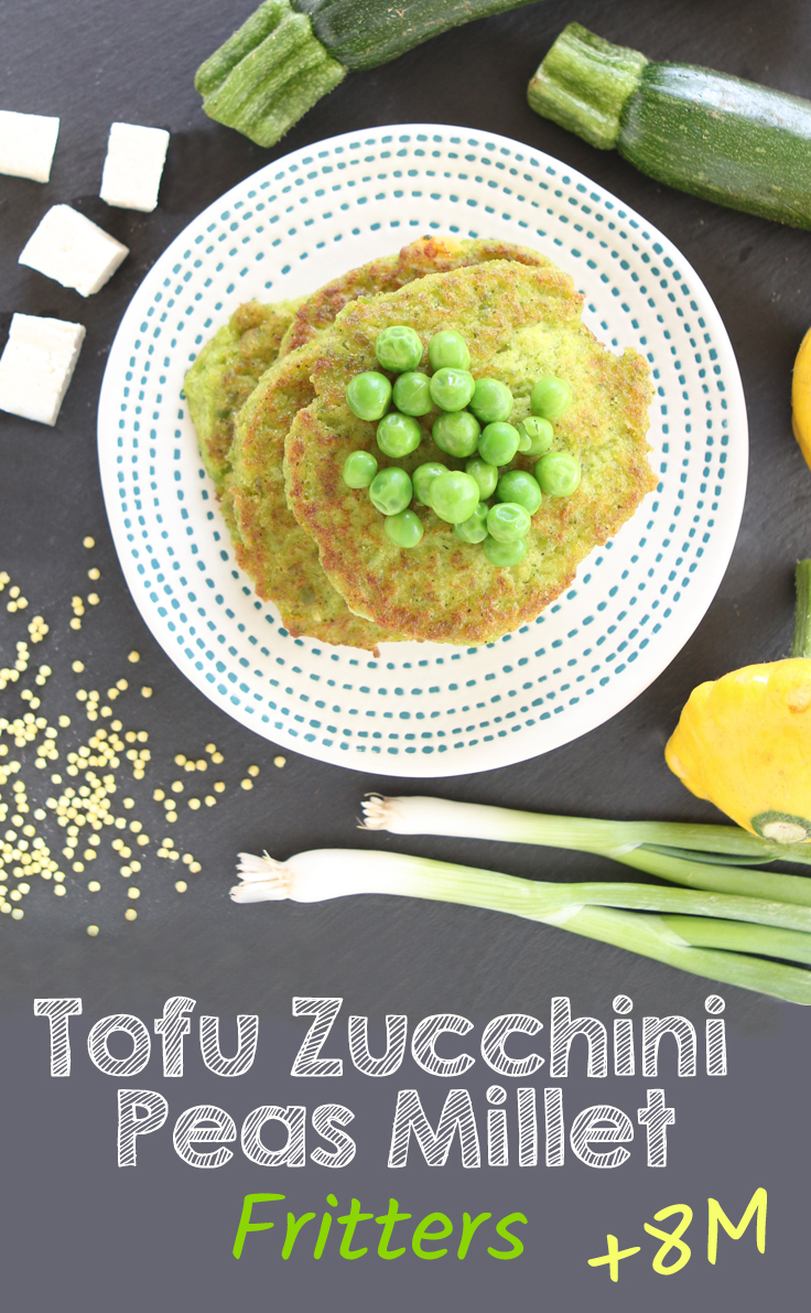 Tofu Zucchini Sweet Peas Millet Fritters, #glutenfree #eggfree #dairyfree +8 months. A tasty and delicate savory recipe using tofu.