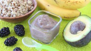 Quinoa Blackberry Banana Avocado baby puree +6M