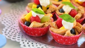 Fruit Sweet Bread Cups with Yogurt