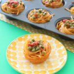 Spaghetti Muffins with Sweet Peas and Tomatoes