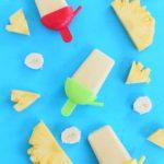 Super Easy Pineapple Coconut Banana Popsicle. Summer kids snack!